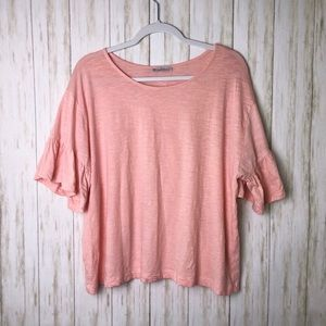 ZARA | Basic Ruffle Sleeve Crop Top T-Shirt